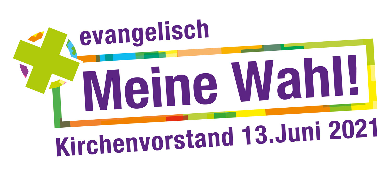 """Logo der Kirchenvorstandswahl 2021 der EKHN - Das Motto der Wahl lautet """"evangelisch Meine Wahl!"""""""